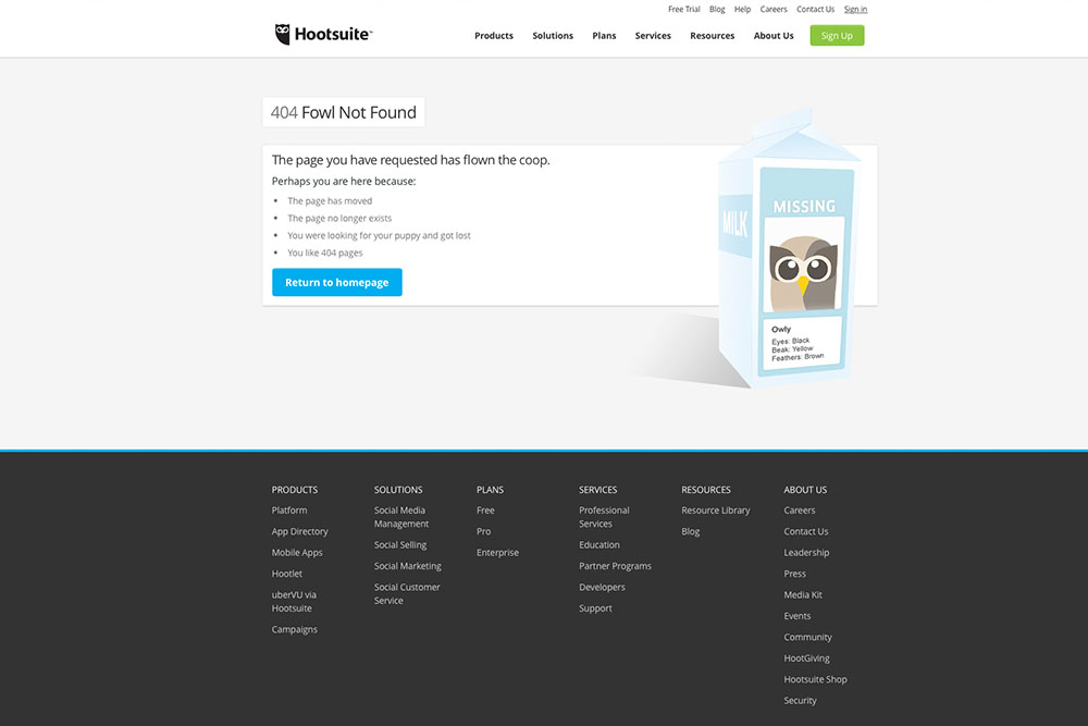 Hootsuite 404-pagina Greencreatives